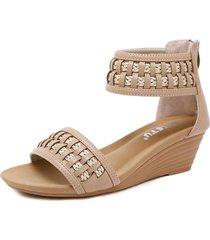 sandalias de cuero tejidas para las mujeres sandalias de cuña