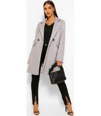 getailleerde nepwollen jas met zak detail, grey