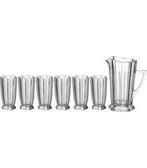 conjunto de 6 copos e jarra 1l - incolor - dafiti