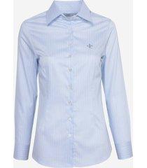 camisa dudalina manga longa cetim fio tinto feminina (listrado, 46)