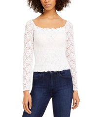 planet gold juniors' smocked lace top