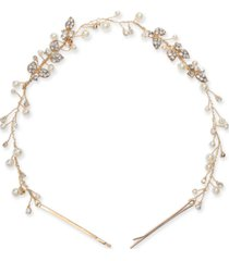 inc gold-tone crystal & imitation pearl headband, created for macy's
