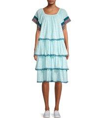 pitusa women's boho tiered dress - aqua - size petite (xxs-xs-s)