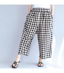 zanzea verano de las mujeres flojas de la tela escocesa pantalones largos de algodón a cuadros harem negro -negro