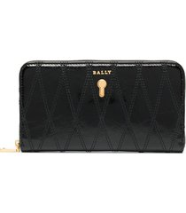 bally zip-up leather purse - black