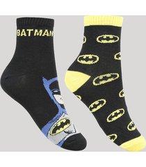 kit de 2 meias infantis cano médio batman multicor