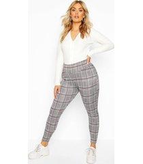 plus flanneled knitted high waist legging, grey