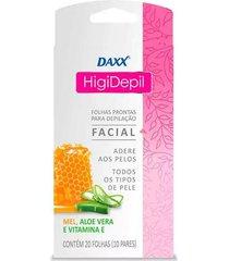 folhas depilatórias daxx higi depil facial com 20 unidades