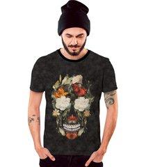 camiseta di nuevo floral caveira em flores coloridas grafite preta