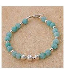 amazonite beaded bracelet, 'amazon dreams' (peru)