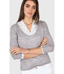 sweater gris etam escote amplio
