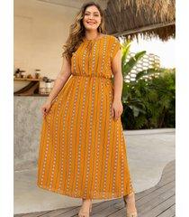 vestido sin mangas con cuello redondo y diseño geométrico amarillo de talla grande