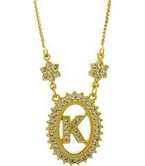 colar horus import letra k zircônias dourado