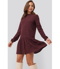 na-kd jerseyklänning med rund halsringning - burgundy