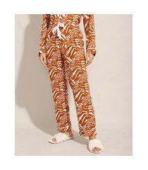 calça de pijama em viscose estampada animal print com amarração mostarda