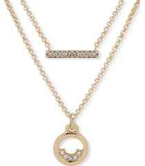 """dkny gold-tone pave bar & circle layered pendant necklace, 16"""" + 3"""" extender"""