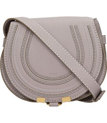 chloé mini marcie shoulder bag in grey leather