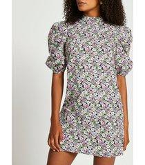 river island womens black short sleeve floral shift mini dress
