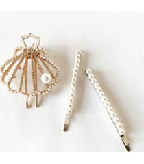 soho style imitation pearl bobby pins and seashell hair clip three-piece set