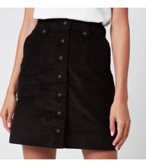 maison kitsuné women's alma buttoned skirt - black - xs