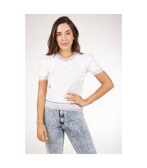 blusa de tricot modal com manga bufante e estampa poá pink tricot feminina
