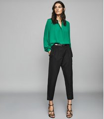 reiss gwen - gather detailed blouse in green, womens, size 12