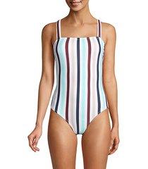 multi-striped one-piece swimsuit