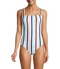 multi-striped one-piece swimsuit