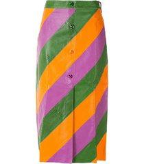 eva snakeskin effect striped skirt - multicolour