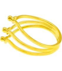 anel horus import pontilhado 3 fios banhado ouro 18 k dourado
