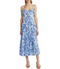 monique lhuillier women's ruffle mid-length dress - blue white - size 6