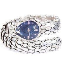 'cobra' diamond amethyst quartz 18k white gold watch