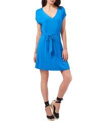 women's 1.state v-neck cap sleeve knit dress, size x-large - blue