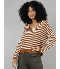 blusa feminina ampla em tricô manga longa decote v caramelo