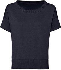 gebreide shirt met korte mouw van bio-katoen, indigo 44/46