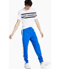 karl lagerfeld paris men's slim-fit stretch colorblock track pants
