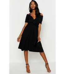 cold shoulder ruffle belted midi dress, black