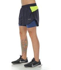 pantaloneta deportiva running con licra interior, color azul oscuro para hombre