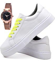 tãªnis sapatãªnis casual fashion com relã³gio gold feminino dubuy 310el branco - branco - feminino - sintã©tico - dafiti