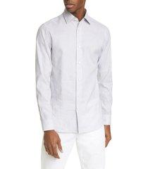 men's z zegna extra slim fit stripe button-up shirt, size xx-large - grey
