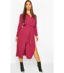 collar button through belted midi dress, wine