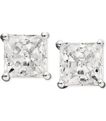 arabella 14k white gold earrings, swarovski zirconia princess cut stud earrings (3-3/4 ct. t.w.)