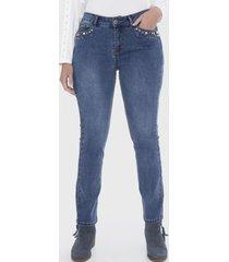 jeans 5 bolsillos aplicación strass azul lorenzo di pontti