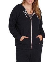 plus size women's volcom lil zip fleece hoodie, size 18w - black