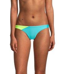 pq women's splash teeny back-ruched bikini bottom - salt water - size s