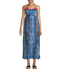 smocked tie-dye strapless cover-up