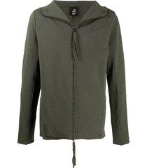 thom krom zip-up high-neck hoodie - green