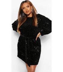 plus oversized mini-jurk met blousonmouwen en lovertjes, zwart