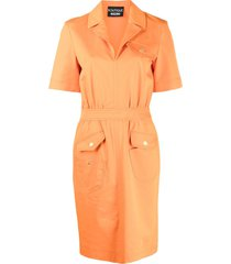 boutique moschino multi-pocket midi dress - orange