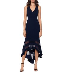 women's xscape high/low flounce midi dress, size 12 - blue